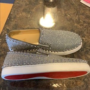 Christian Louboutin Silver Spike Slip-On